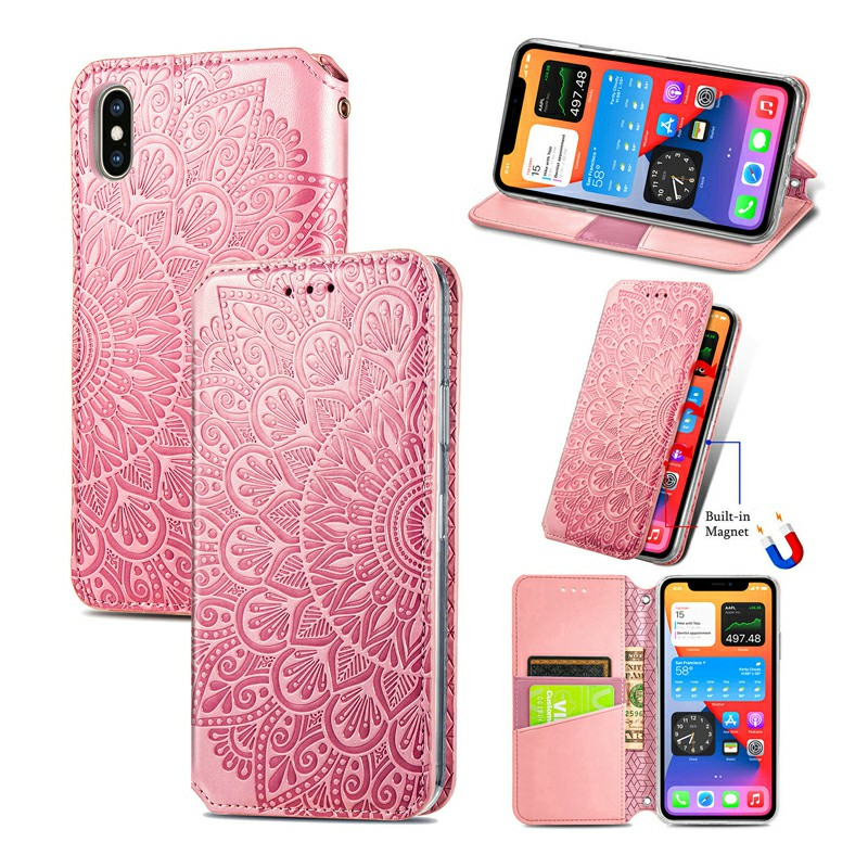 Wallet Card Case Magnetic PU Leather Cover for iPhone XS Max - Pink