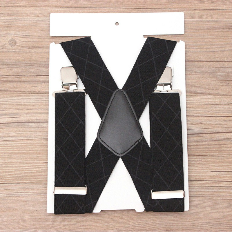 50mm Wide Diamond-shaped Dark Grain Trouser Braces Suspenders Adjustable Unisex Trousers Suspander - Black