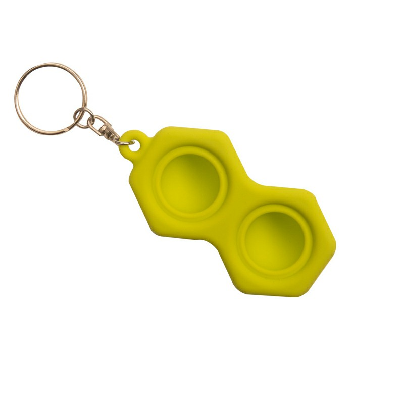 Hexagon Press Bubble Fun Mini Pressure Relief Fingertip Silicone Finger Practice Keychain - Green