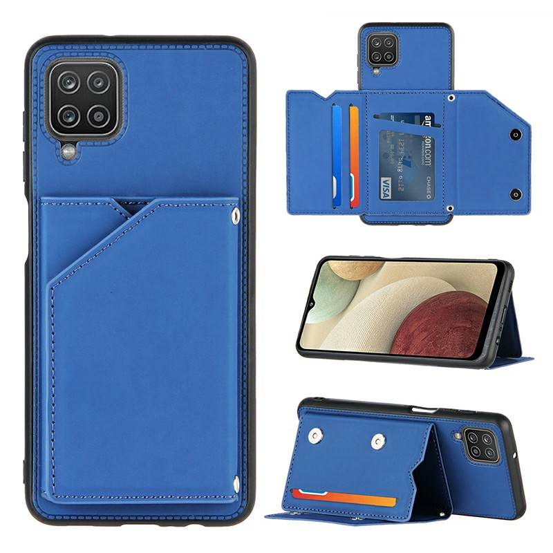 Folio Stand Cover PU Leather Flip Case with Lanyard for Samsung Galaxy A12 - Blue