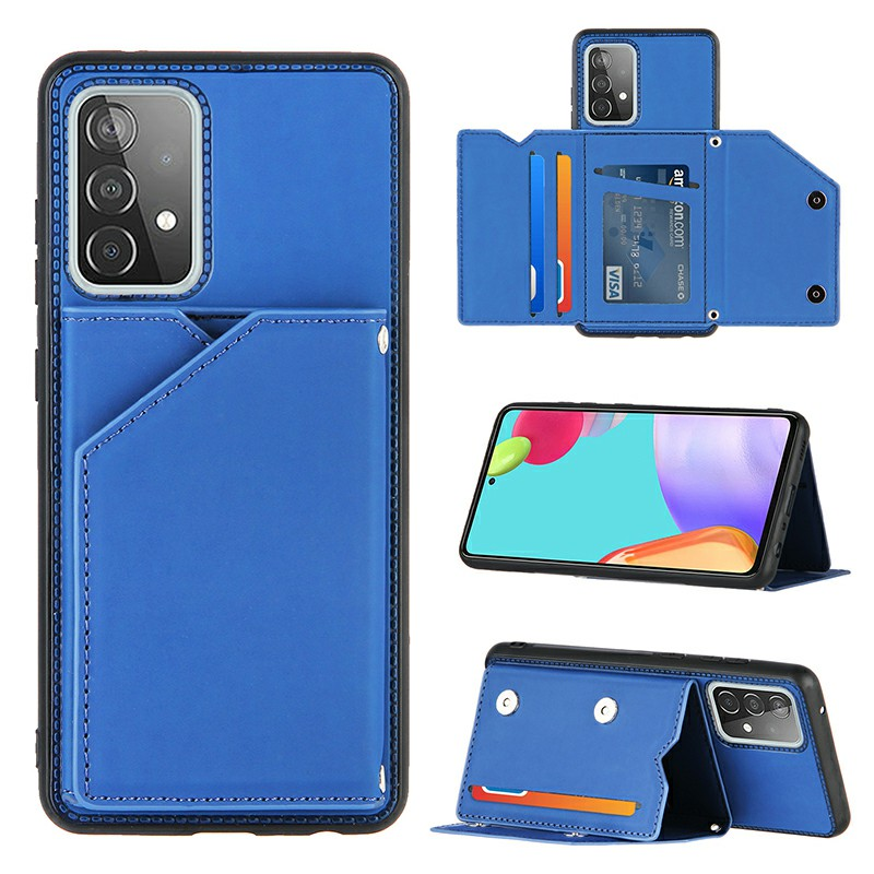 Folio Stand Cover PU Leather Flip Case with Lanyard for Samsung Galaxy A52 5G - Blue