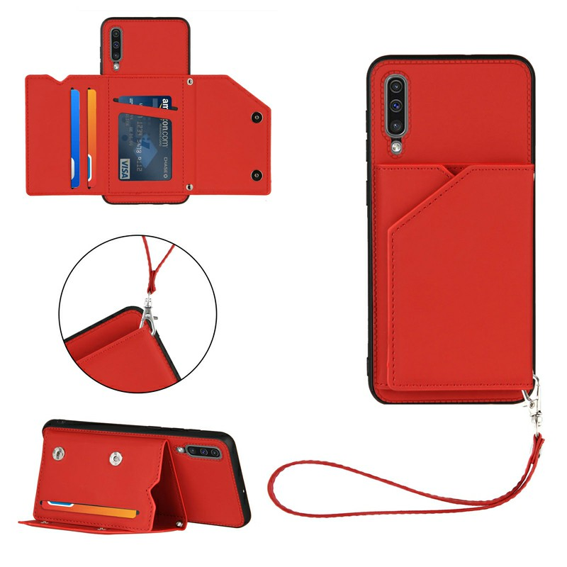 PU Leather Folio Stand Cover Case with Lanyard for Samsung Galaxy A50 A505 A30S A50S - Red