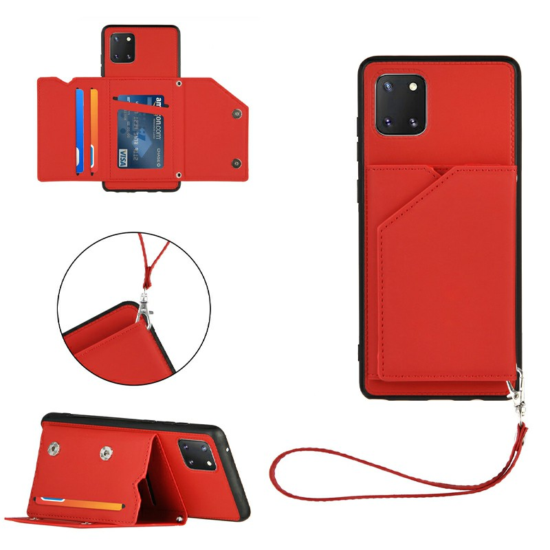 Folio Stand Cover PU Leather Flip Case with Lanyard for Samsung Galaxy M60S A81 NOTE 10 LITE - Red