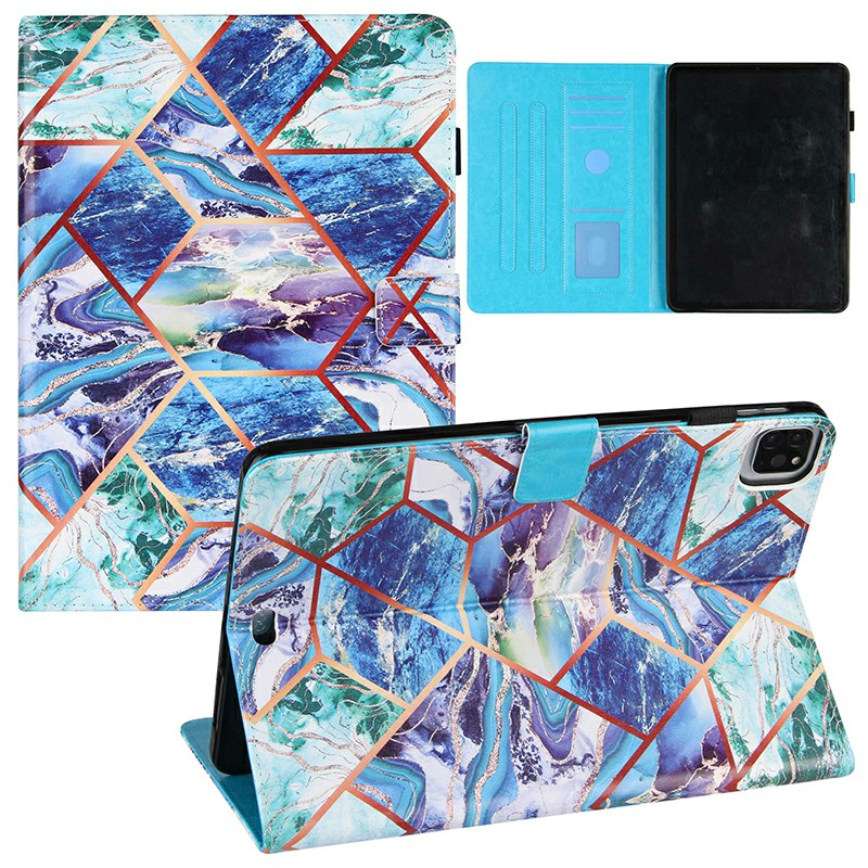 PU Leather Folio Stand Cover Case for iPad Pro 11 inch 2020 2018 and iPad Air 4 10.9 2020 - Blue + Green