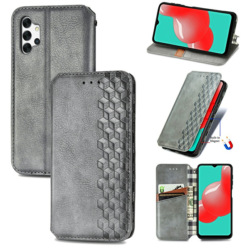 Magnetic PU Leather Wallet Case Cover for Samsung Galaxy A32 5G - Grey