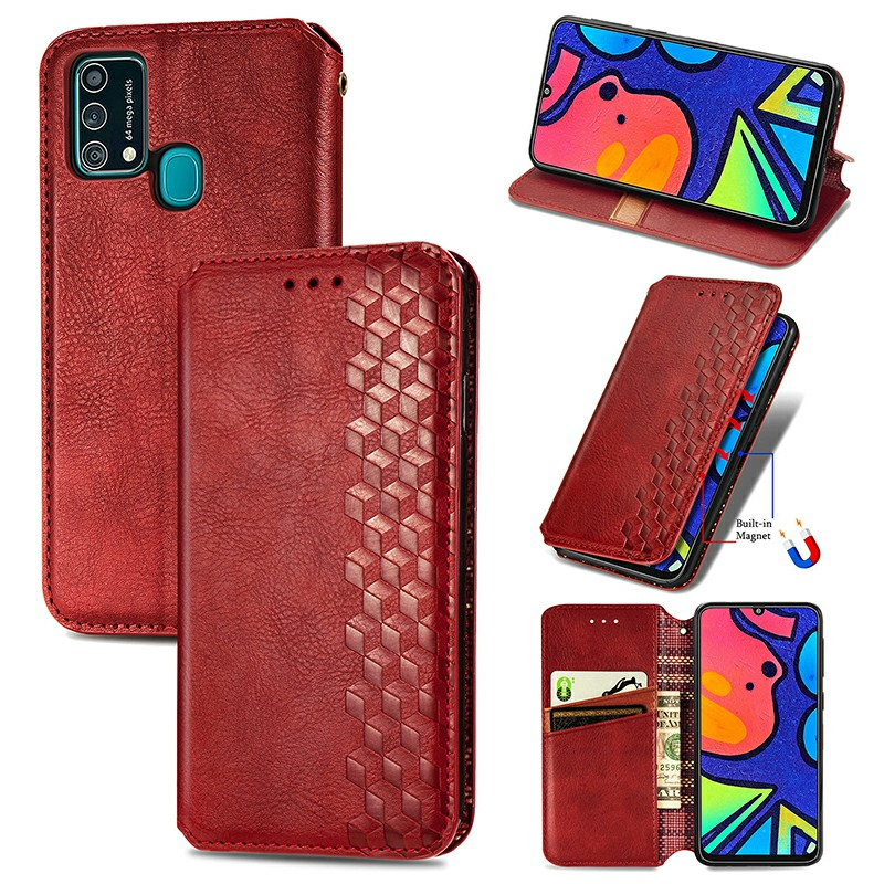 Magnetic PU Leather Wallet Case Cover for Samsung Galaxy M21S F41 M31 - Red