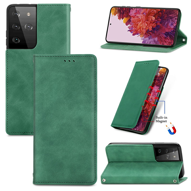 Magnetic PU Leather Wallet Case Cover for Samsung Galaxy S21 Ultra - Green