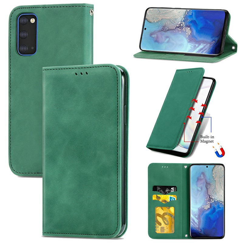 Magnetic PU Leather Wallet Case Cover for Samsung Galaxy S20 - Green