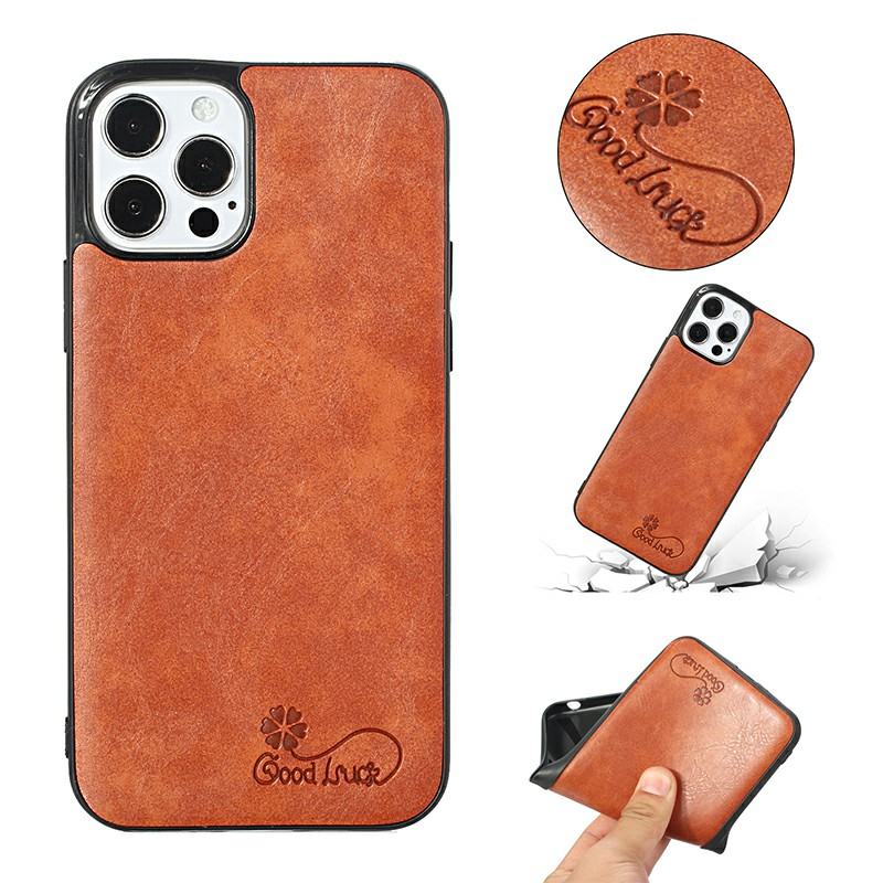 Slim and Soft Silicone PU Cover Protective Back Case for iPhone 12 and iPhone 12 Pro - Orange