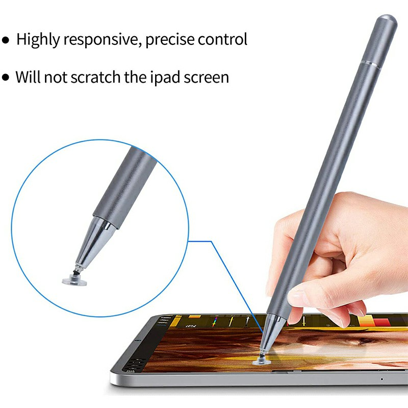 Universal Capacitive Touch Stylus Pen for iPad iPhone Tablet - Grey