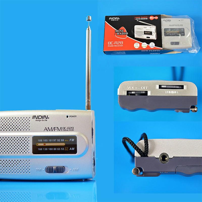 BC-R28 Pocket Radio Telescopic Antenna Mini AM/FM 2-Band Radio World Receiver