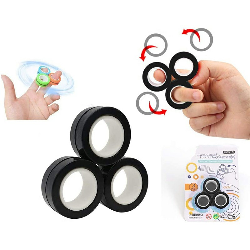 Magnetic Bracelet Ring Unzip Magical Ring Props Tools Decompression Ring Anti-Stress - Black