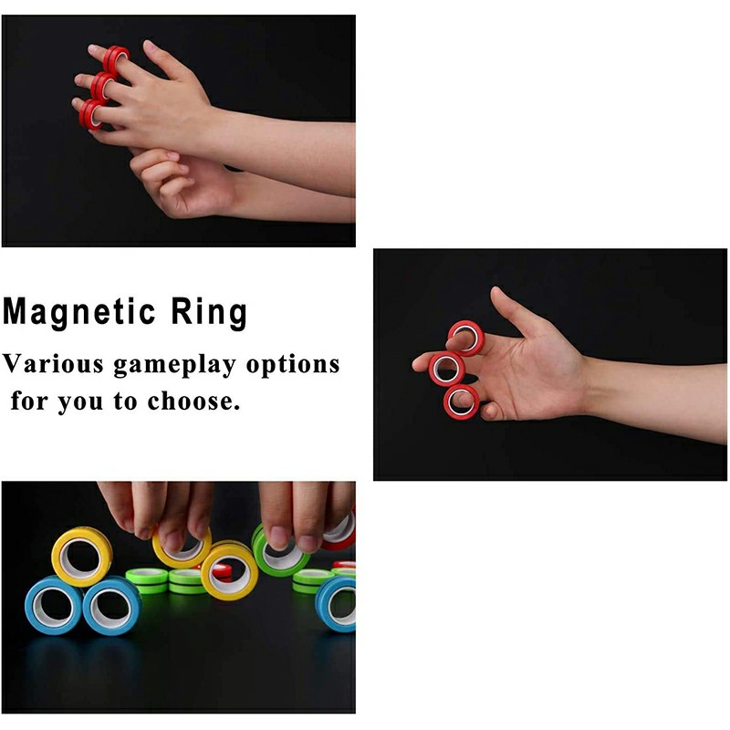 Magnetic Bracelet Ring Unzip Magical Ring Props Tools Decompression Product Anti-Stress - Red
