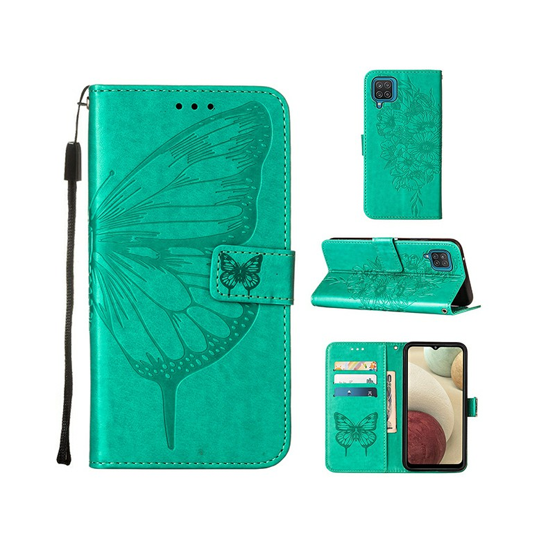PU Leather Folio Stand Cover Protective Case for Samsung Galaxy A12 - Green