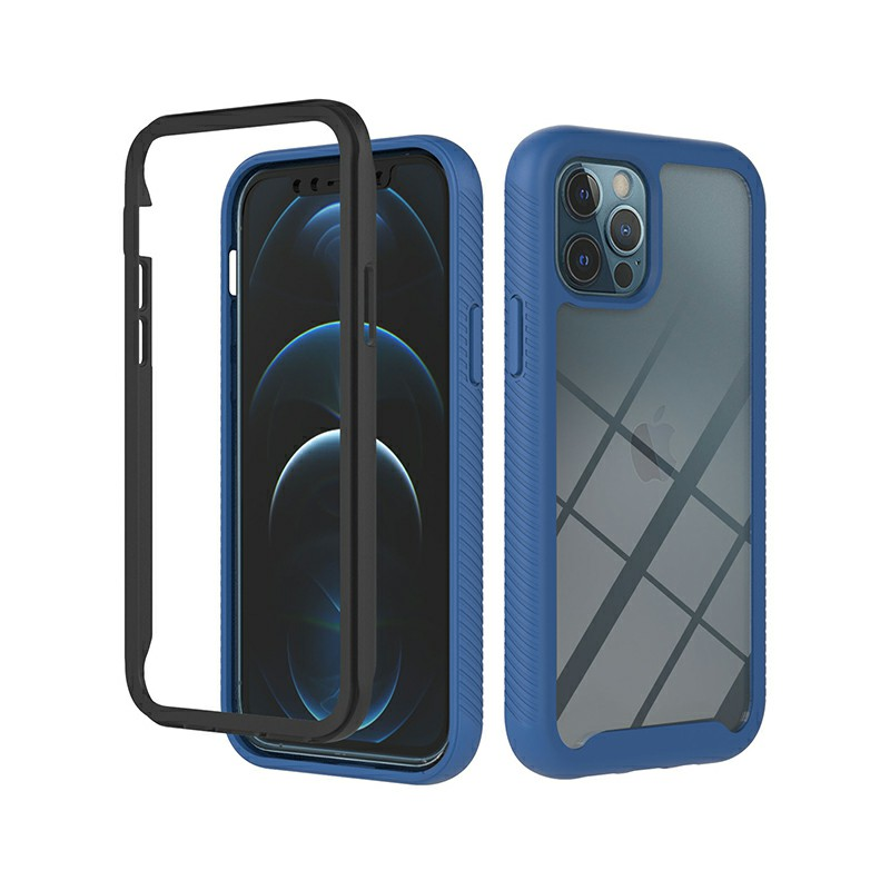 360 Full Body Slim Armor Case with Front Frame for iPhone 12 Pro Max - Blue