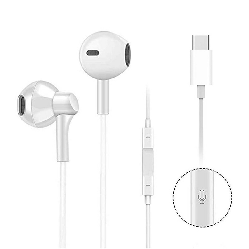 USB C Digital Earbuds with Microphone Noise Cancelling HiFi Stereo Headphones - White.