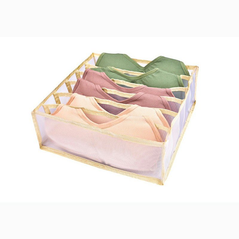 6-Grid Socks Underwear Tie Storage Box Compartment Bra Organizer Drawer Closet Divider - Beige.