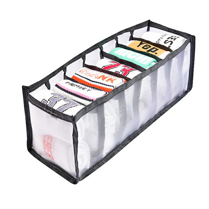 7-Grid Socks Underwear Tie Storage Box Compartment Bra Organizer Drawer Closet Divider - Grey.