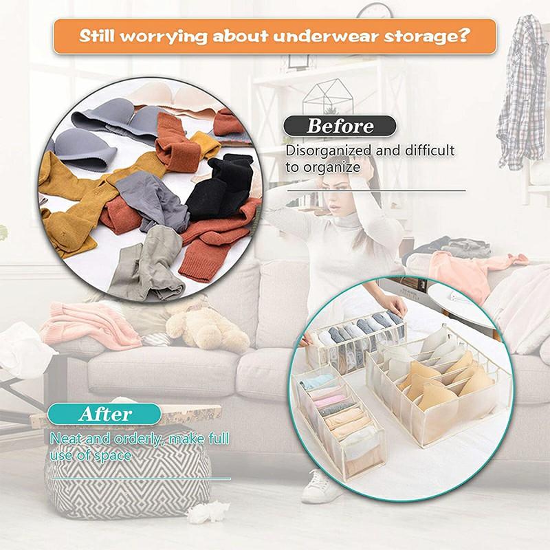 11-Grid Socks Underwear Tie Storage Box Compartment Bra Organizer Drawer Closet Divider - Beige.