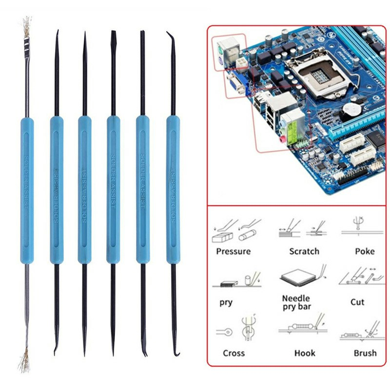 6 in 1 Set Dual End Soldering Iron Solder Assist Disassembly Tools