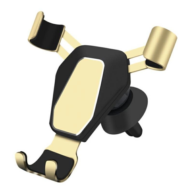 Car Phone Holder Metal Gravity Linkage Car Air Vent Mount Holder - Gold