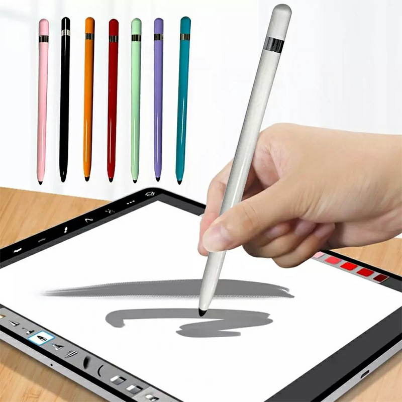 Universal Capacitive Touch Stylus Pen with Protection Cover for iPad iPhone Tablet - Red.