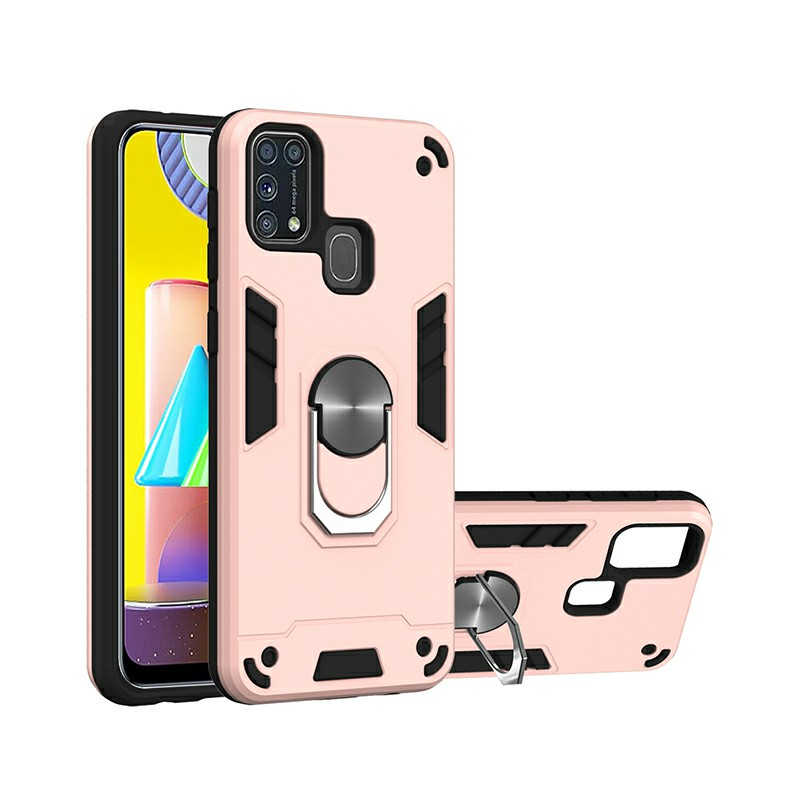 Armor Heavy Duty Dual Layer Ring Shockproof Hard Protective Case for Samsung Galaxy M31 - Rose Gold