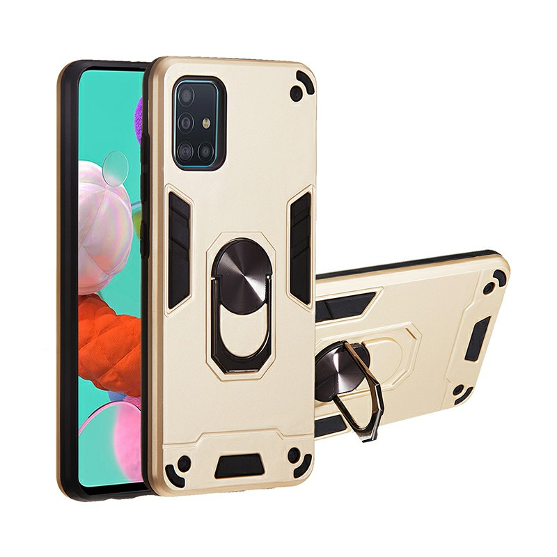 Armor Heavy Duty Dual Layer Ring Shockproof Hard Protective Case for Samsung Galaxy A51 - Gold