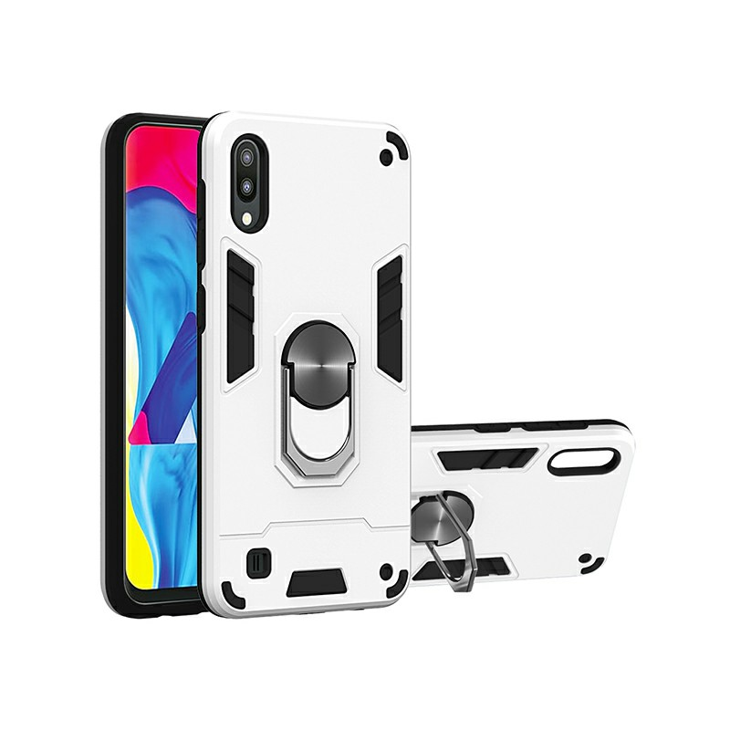 Armor Heavy Duty Dual Layer Ring Shockproof Hard Protective Case for Samsung Galaxy M10/A10 - Silver.