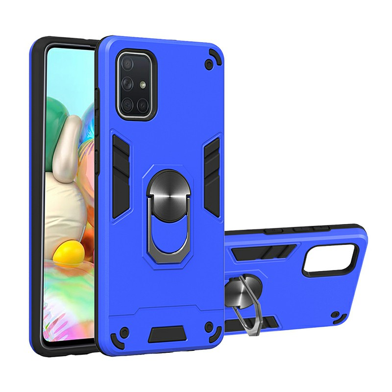 Armor Heavy Duty Dual Layer Ring Shockproof Hard Protective Case for Samsung Galaxy A71 - Blue.