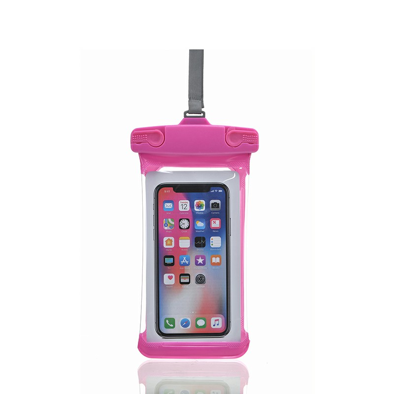 Universal 7.2 inch Waterproof Three-dimensional E Type Phone Pouch Glowing Bag - Hot Pink
