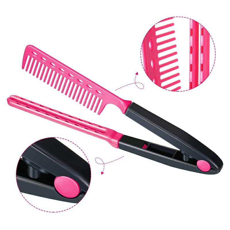 Straightening Comb Salon Hair Brush Hairdressing Styling V-shaped Straightener - Rose Red