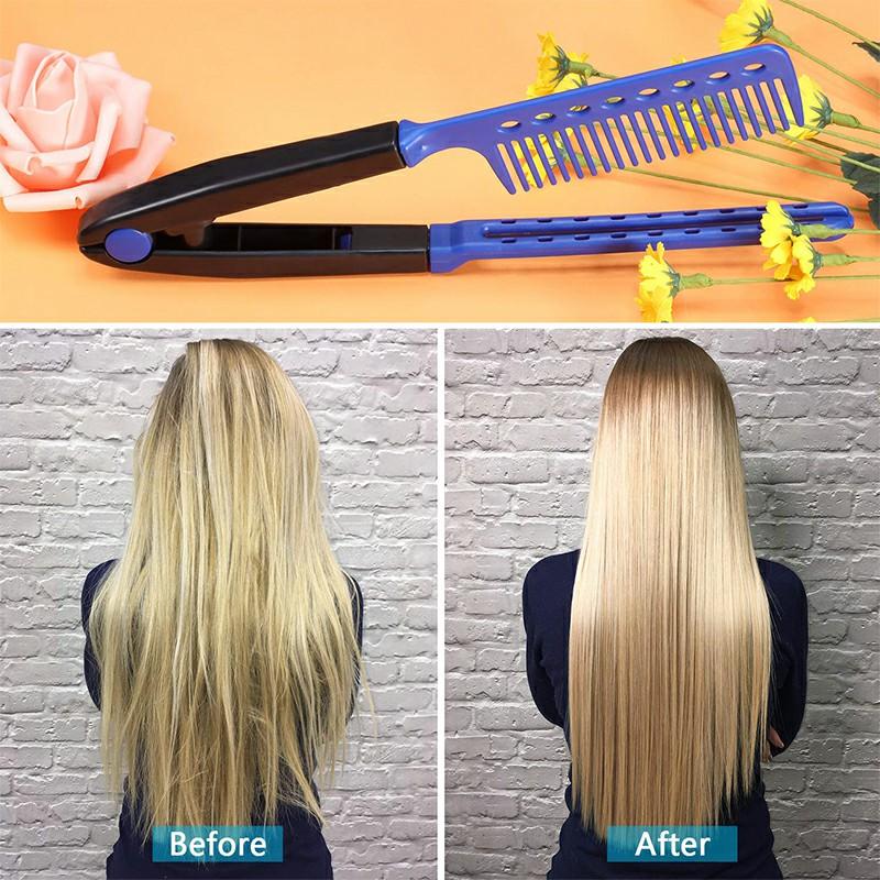 Straightening Comb Salon Hair Brush Hairdressing Styling V-shaped Straightener - Blue