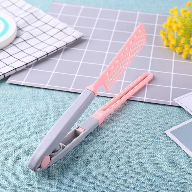Straightening Comb Salon Hair Brush Hairdressing Styling V-shaped Straightener - Pink