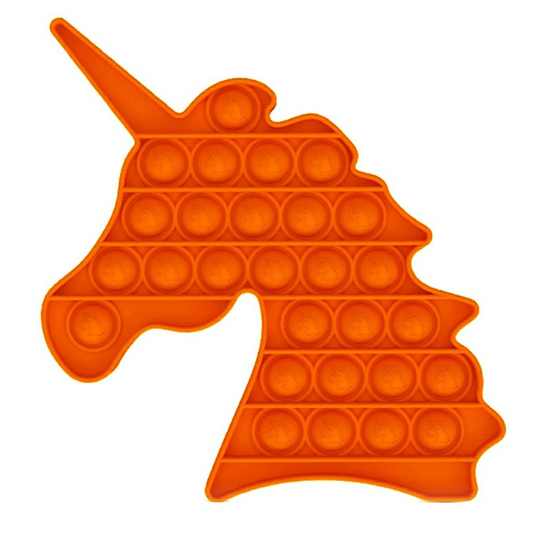Pop it Fidget Unicorn a Loud Side and a Quiet Side to Pop - Orange