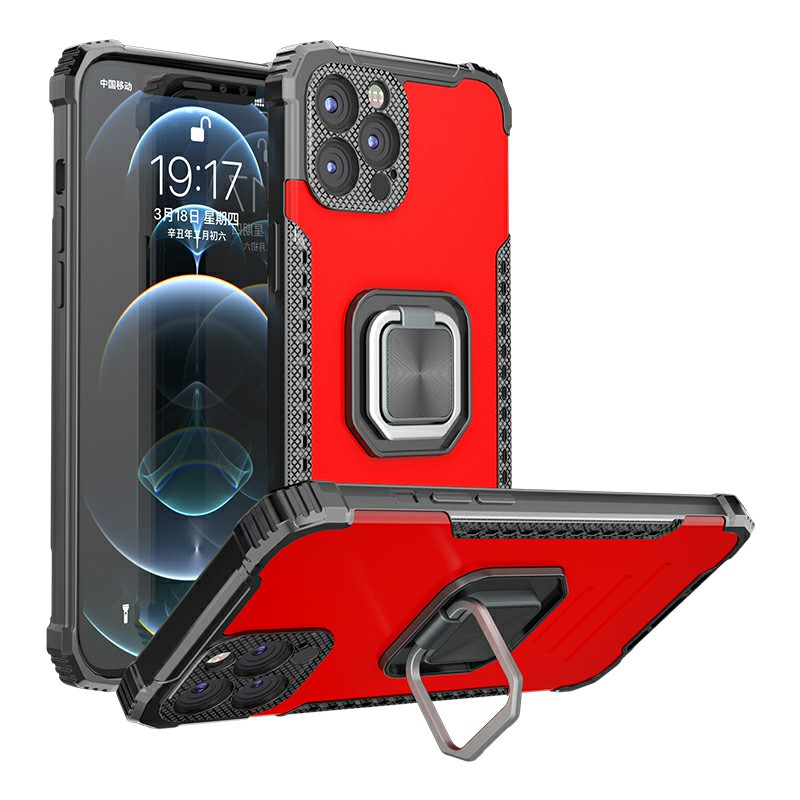 Heavy Duty Rugged Armor TPU + PC Combination Case for iPhone 12 Mini - Red