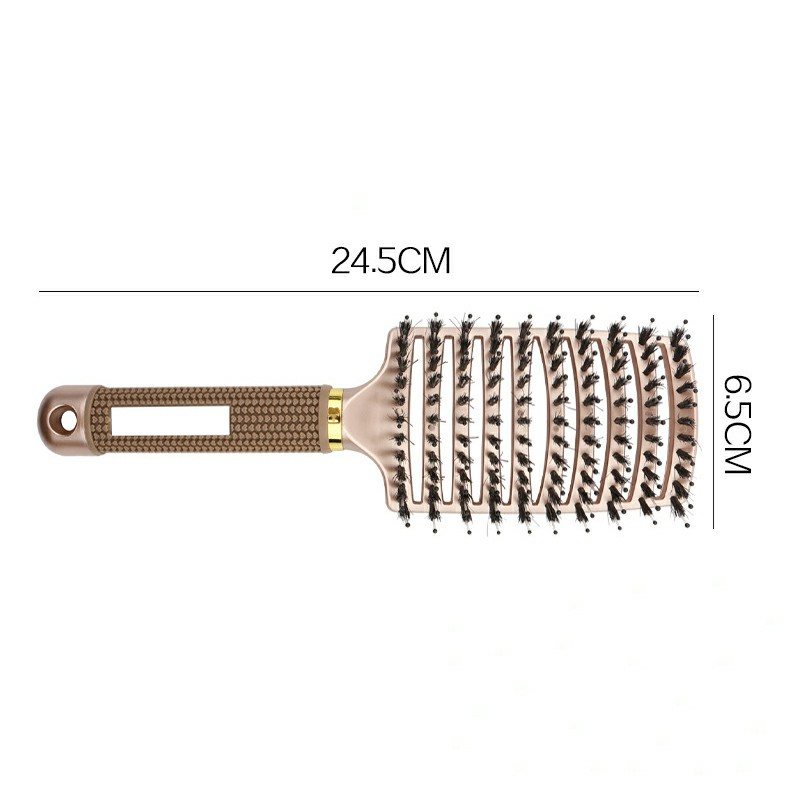 Natural Boar Bristle Detangling Nylon Brush Large Curved Curly Hair Styler - Gold