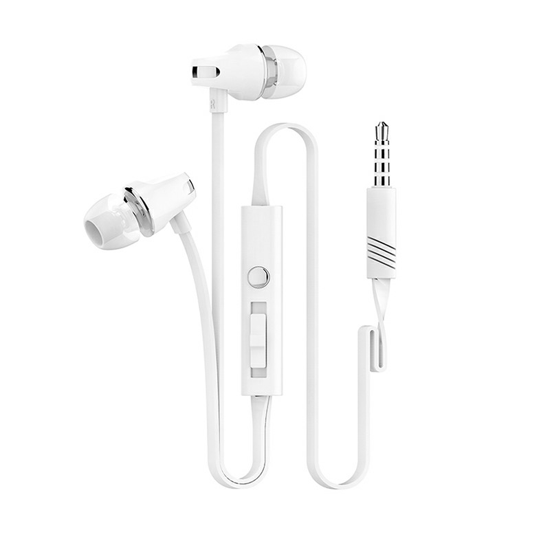 JM23 3.5mm Earbuds Subwoofer Earphones with Mic - White
