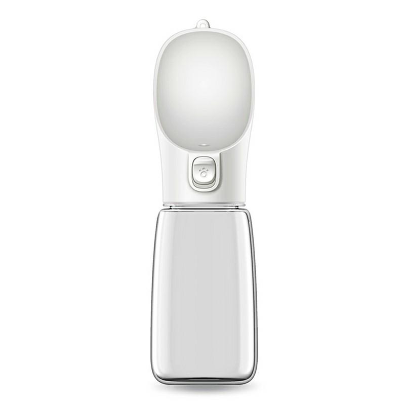 550ml Portable Dog Water Bottle Outdoor Travel Drinking Bowl Dispenser - White