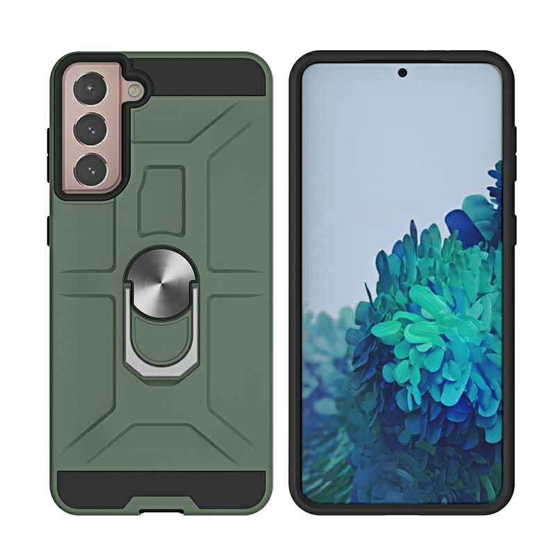 Armor Heavy Duty Dual Layer Ring Shockproof Hard Case for Samsung Galaxy S21 Plus 5G - Green