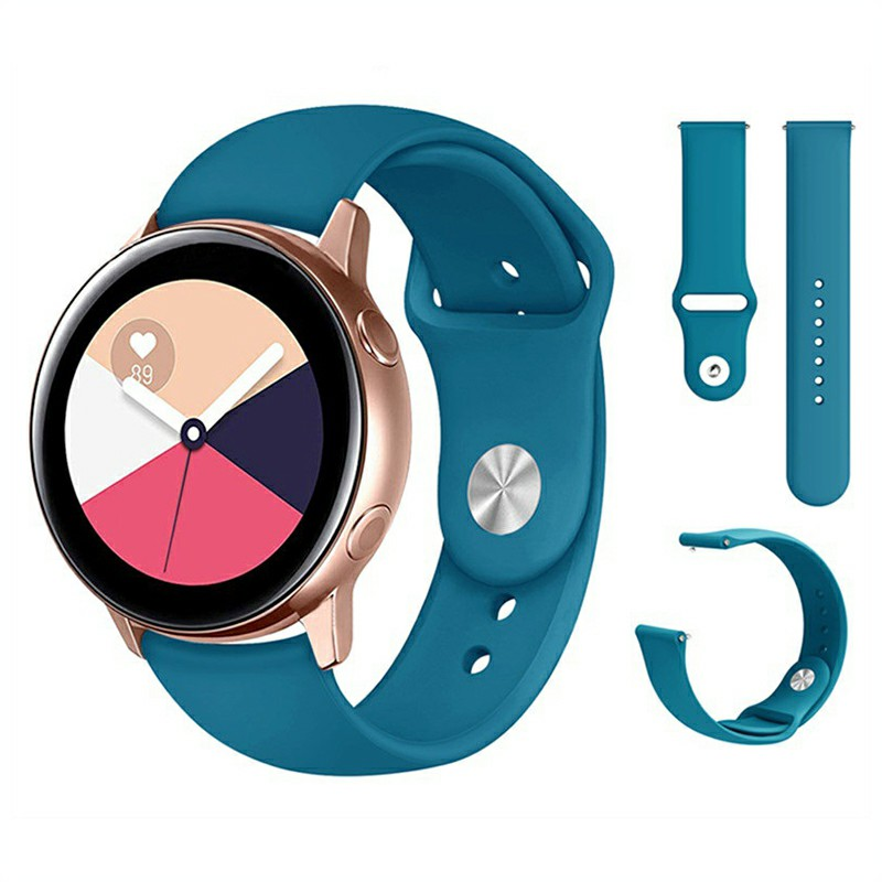 20mm Soft Sillicone Rubber Replacement Watchband for Samsung Galaxy Watch Active - Blue+Green
