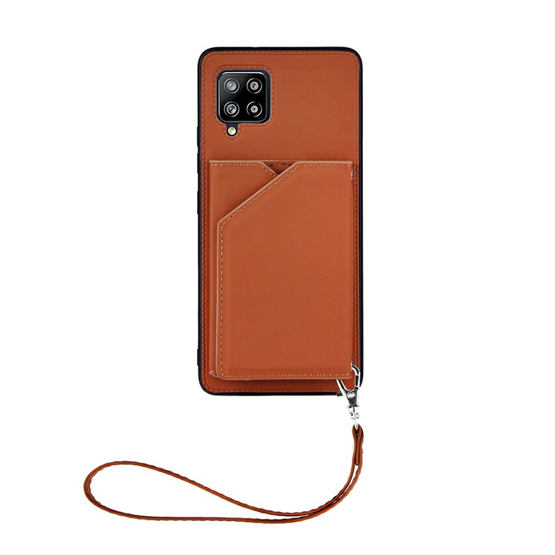 PU Leather Folio Stand Cover Case for Samsung Galaxy A42 5G - Brown