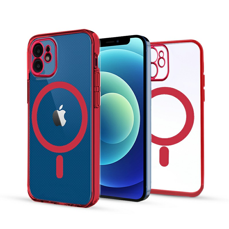 Soft TPU Gel Rubber Magnetic Case for iPhone 12 - Red