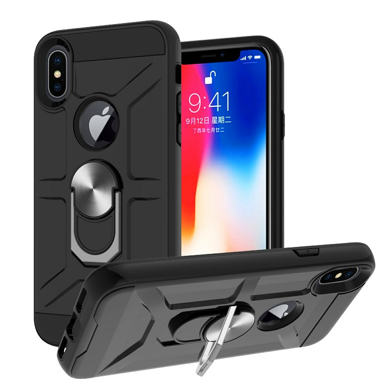 Dual Layer Ring Shockproof Armor Hard Case for iPhone X/XS - Black