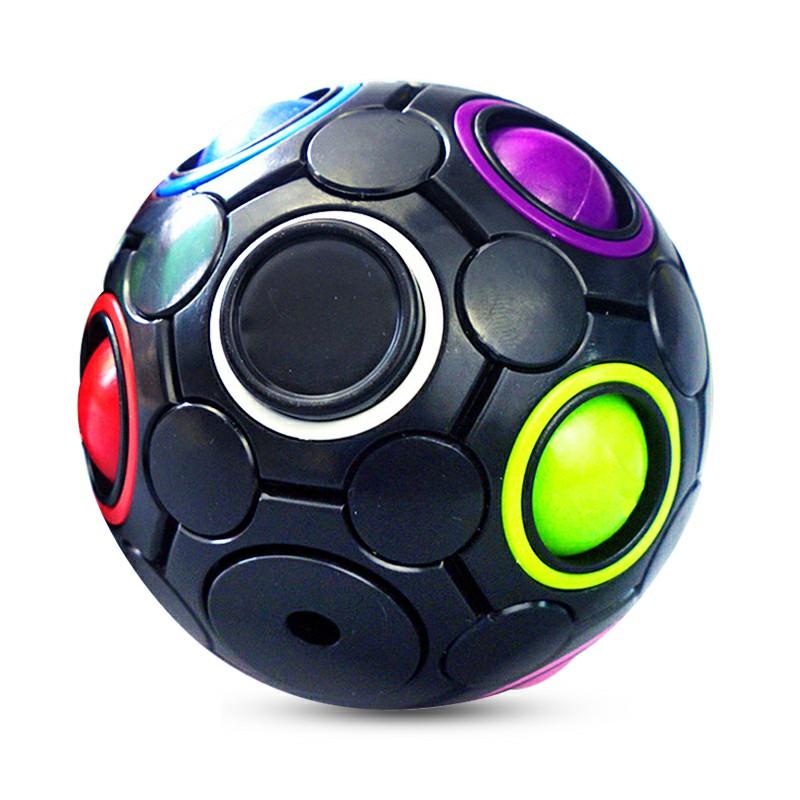 Spinning Magic Rainbow Fidget Ball Speed Cube Brain Teaser Stress Relief - Black