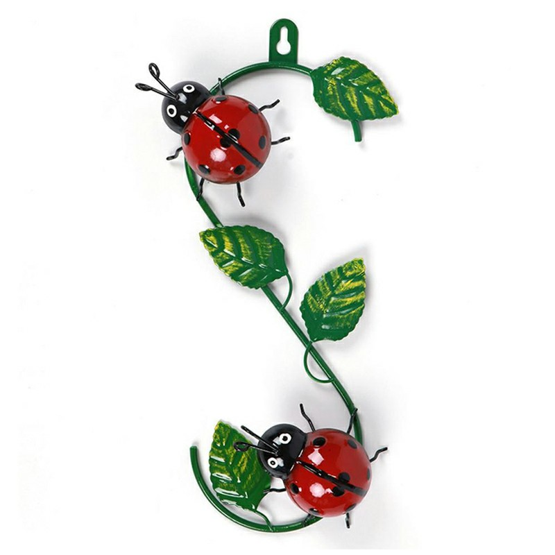 Metal Wall Art Climbing Hooks Outdoor Garden Fence - Ladybird