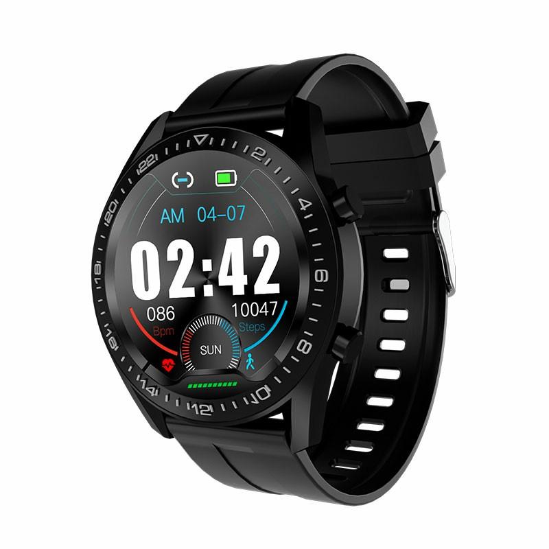 i12 Round Bluetooth IP67 Call Smart Watch Fitness Tracker Health Check - Black