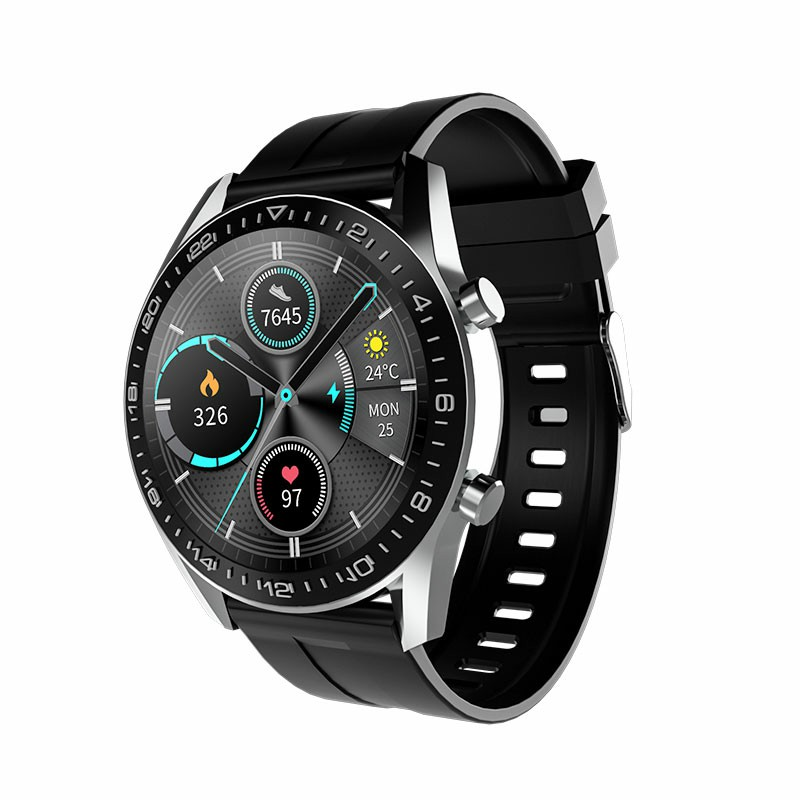 i12 Round Bluetooth IP67 Call Smart Watch Fitness Tracker Health Check - Silver