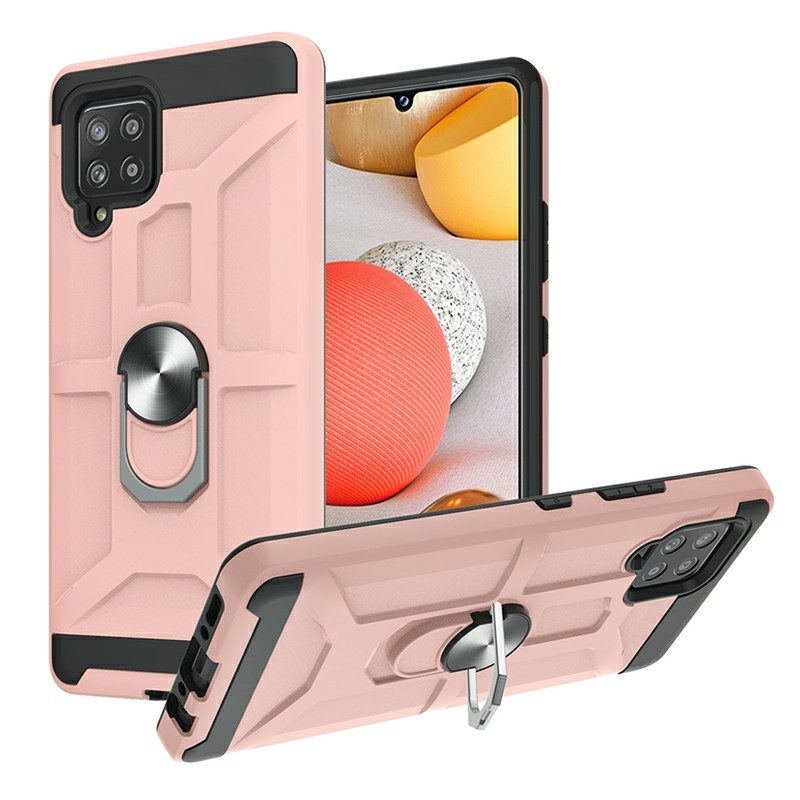 Dual Layer Ring Shockproof Armor Hard Case for Samsung Galaxy A42 5G - Rose Gold