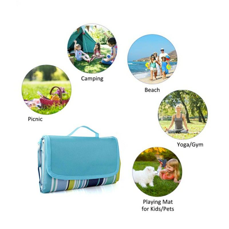Waterproof Picnic Blanket Camping Mat Outdoor Beach Hiking Park Grass Travel Rug - Blue